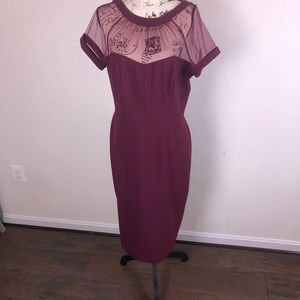 Maggy London Illusion Top Dress in Wine